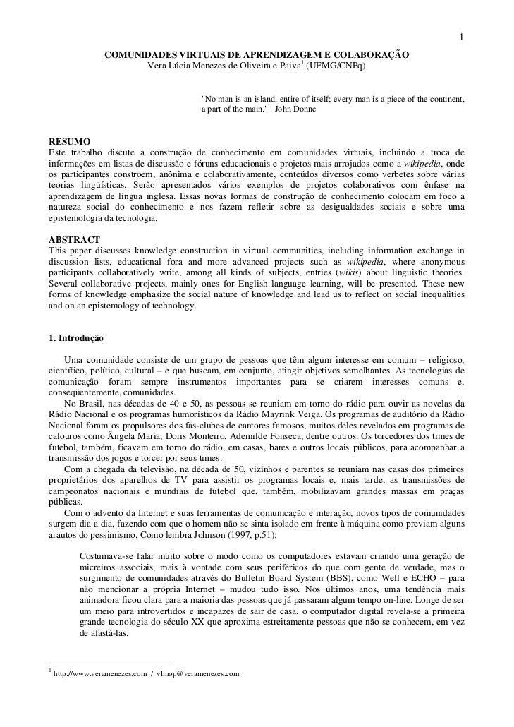 1                 COMUNIDADES VIRTUAIS DE APRENDIZAGEM E COLABORAÇÃO                       Vera Lúcia Menezes de Oliveira ...