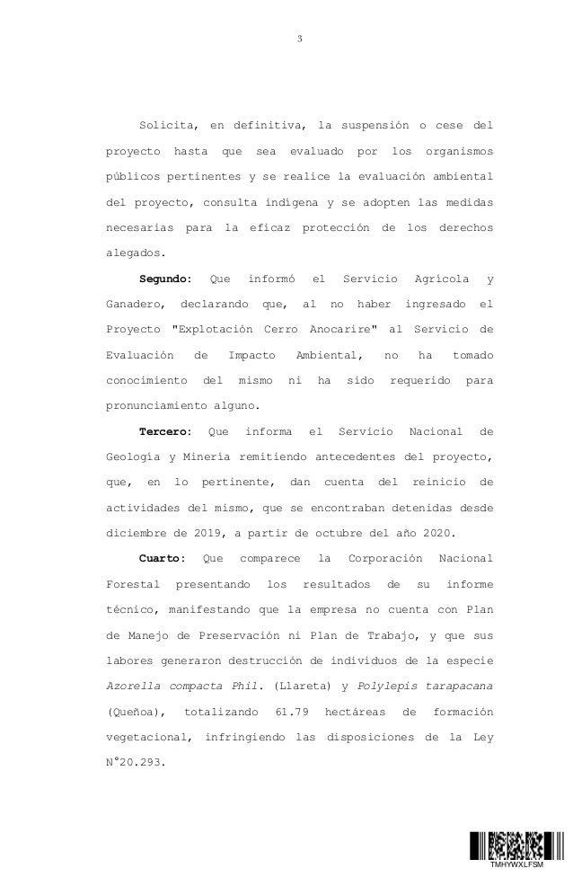 Fallo Corte Suprema: suspende exploraciones minera en Anocarire, Arica y Parinacota Slide 3
