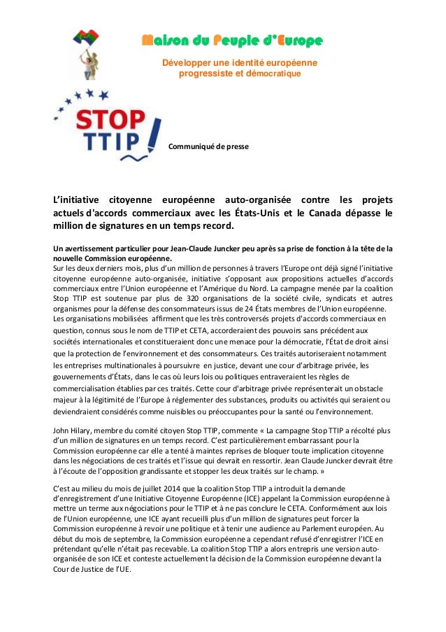 Maison du Peuple d'Europe  Développer une identité européenne  progressiste et démocratique  Communiqué de presse  L'initi...