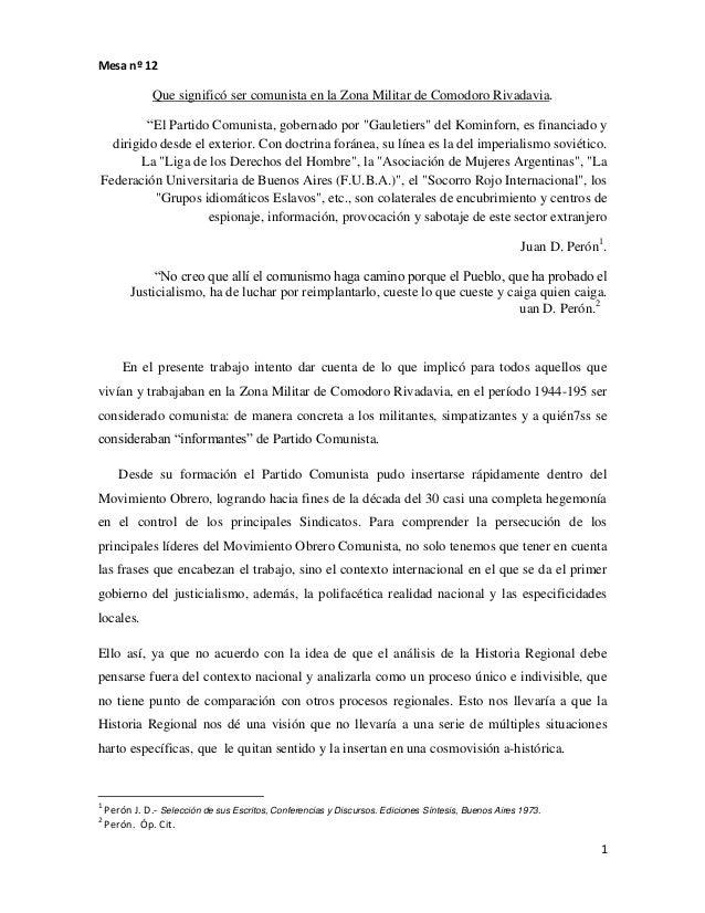 """1Mesa nº 12Que significó ser comunista en la Zona Militar de Comodoro Rivadavia.""""El Partido Comunista, gobernado por """"Gaul..."""