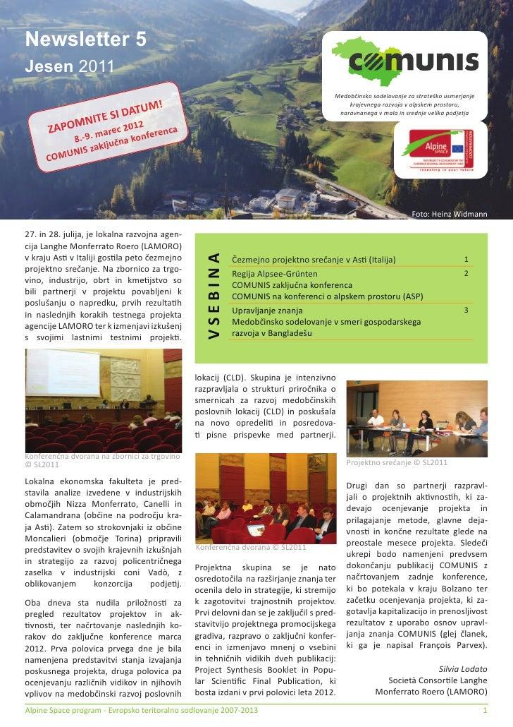 Newsletter 5Jesen 2011                                                                                      Medobčinsko so...