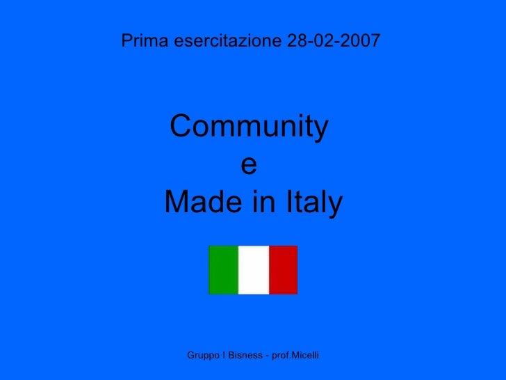 Community  e  Made in Italy Prima esercitazione 28-02-2007