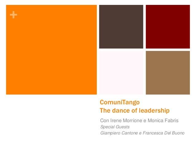 + ComuniTango The dance of leadership Con Irene Morrione e Monica Fabris Special Guests Giampiero Cantone e Francesca Del ...