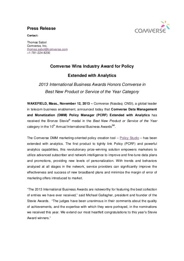 Press Release Contact:  Thomas Sabol Comverse, Inc. thomas.sabol@comverse.com +1-781-224-8200  Comverse Wins Industry Awar...