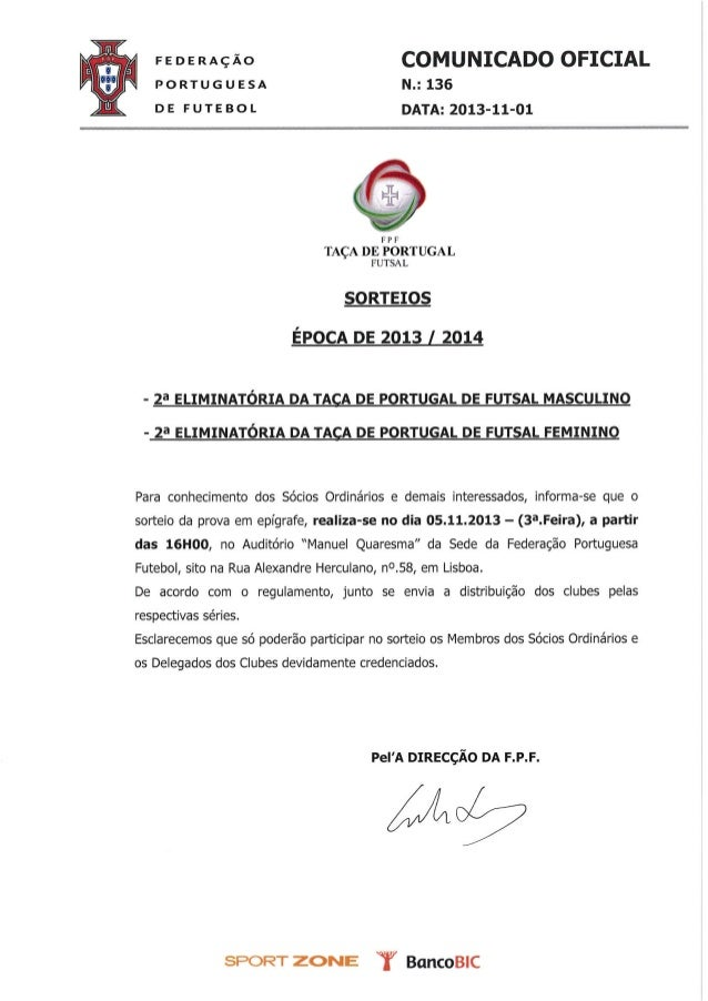 Co nº. 136 sorteios taça portugal futsal masculino e femenino