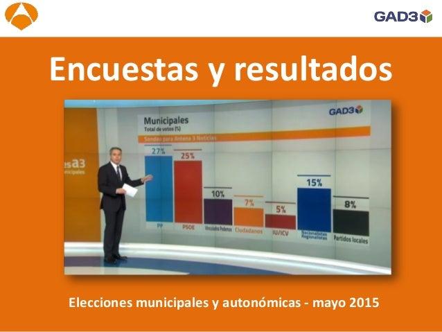 Elecciones Autonómicas en Andalucía 2015 Elecciones municipales y autonómicas - mayo 2015 Encuestas y resultados