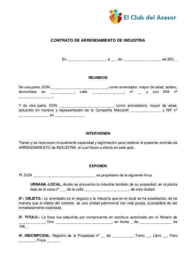 Con11 contrato arrendamiento industria for Modelo contrato alquiler vivienda sencillo