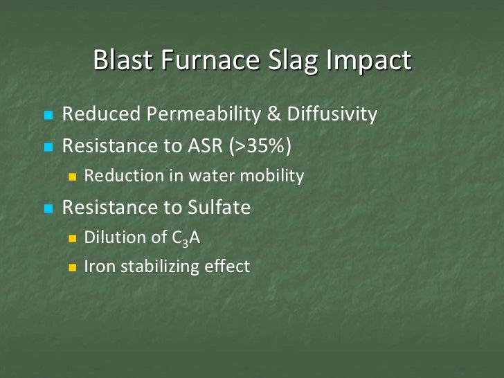 Blast Furnace Slag Properties : Con session chemical properties