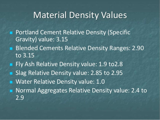 Slag Cement Density : Con session proportioning methods