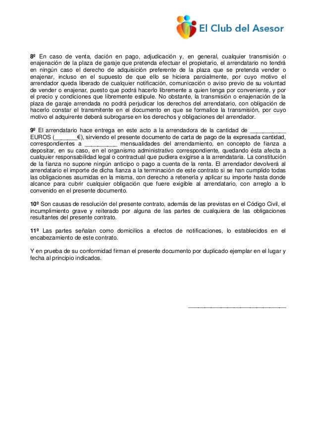 Contrato de arrendamiento de estacionamiento de vehiculo - Contrato de alquiler de garaje ...