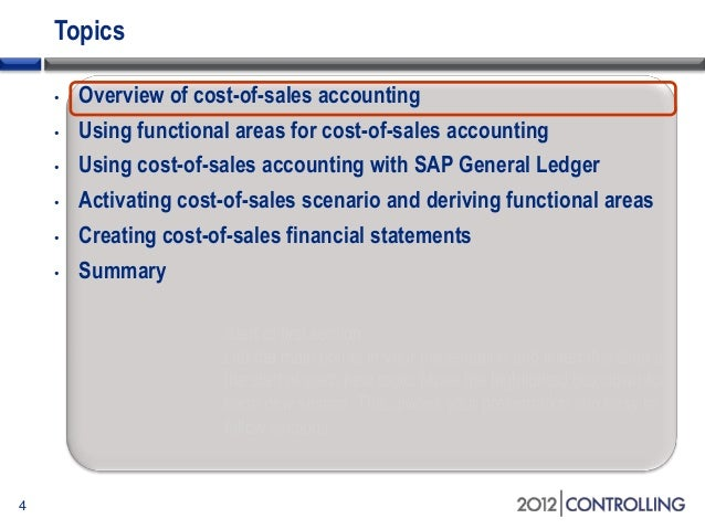 a guide to functional areas and cost of sales p l reporting in the sa