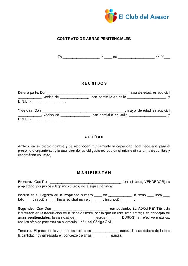 Con33 contrato arras penitenciales for Contrato documento