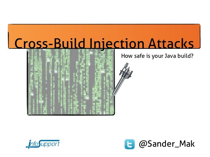 Cross-Build Injection Attacks                 How safe is your Java build?                       @Sander_Mak
