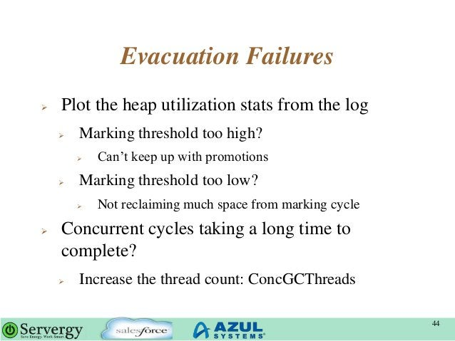 """Evacuation Failures  Plot the heap utilization stats from the log  Marking threshold too high?  Can""""t keep up with prom..."""