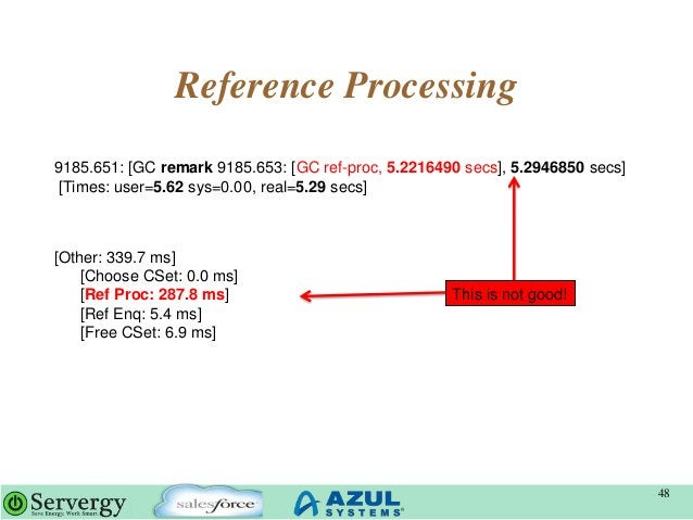 Reference Processing 48 9185.651: [GC remark 9185.653: [GC ref-proc, 5.2216490 secs], 5.2946850 secs] [Times: user=5.62 sy...