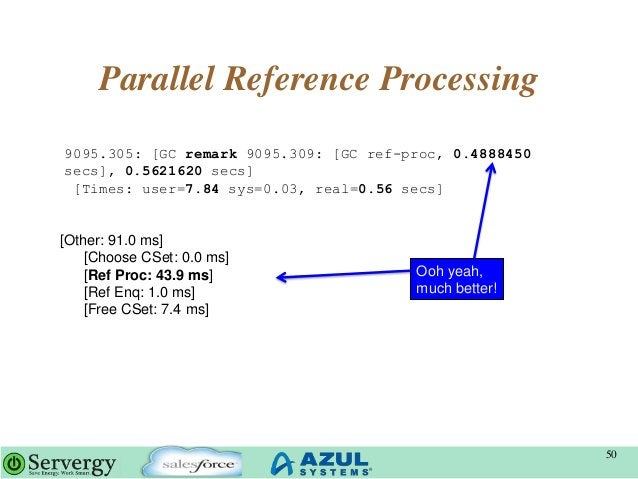 Parallel Reference Processing 50 9095.305: [GC remark 9095.309: [GC ref-proc, 0.4888450 secs], 0.5621620 secs] [Times: use...