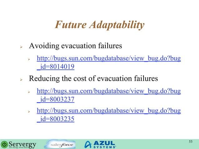 Future Adaptability  Avoiding evacuation failures  http://bugs.sun.com/bugdatabase/view_bug.do?bug _id=8014019  Reducin...