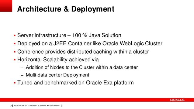 Architecture & Deployment   Server infrastructure – 100 % Java Solution  Deployed on a J2EE Container like Oracle WebLog...