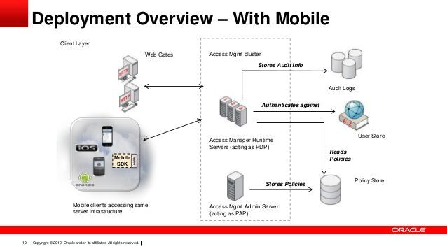 Deployment Overview – With Mobile Client Layer Web Gates  Access Mgmt cluster Stores Audit Info  Audit Logs Authenticates ...