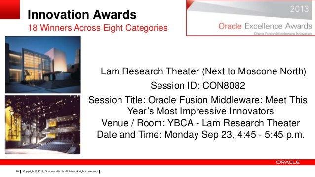 Innovation Awards 18 Winners Across Eight Categories  Lam Research Theater (Next to Moscone North) Session ID: CON8082 Ses...