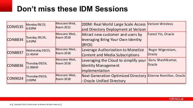 Don't miss these IDM Sessions CON4535  Monday 09/23, 4:45PM  CON8834  Tuesday, 09/24, 3:45PM  CON8837  Wednesday 09/25, 11...