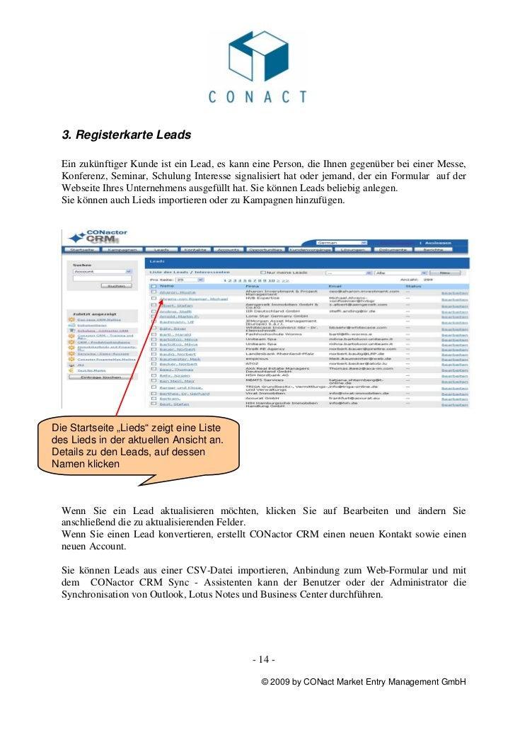3. Registerkarte Leads  Ein zukünftiger Kunde ist ein Lead, es kann eine Person, die Ihnen gegenüber bei einer Messe,  Kon...