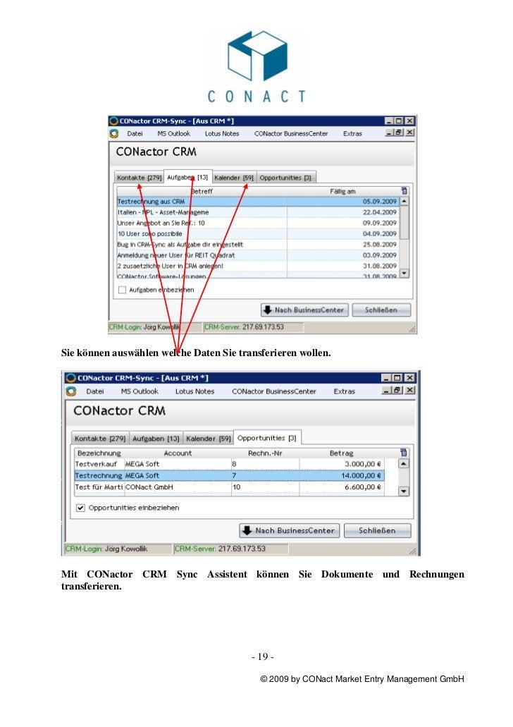 Sie können auswählen welche Daten Sie transferieren wollen.Mit CONactor CRM Sync Assistent können Sie Dokumente und Rechnu...