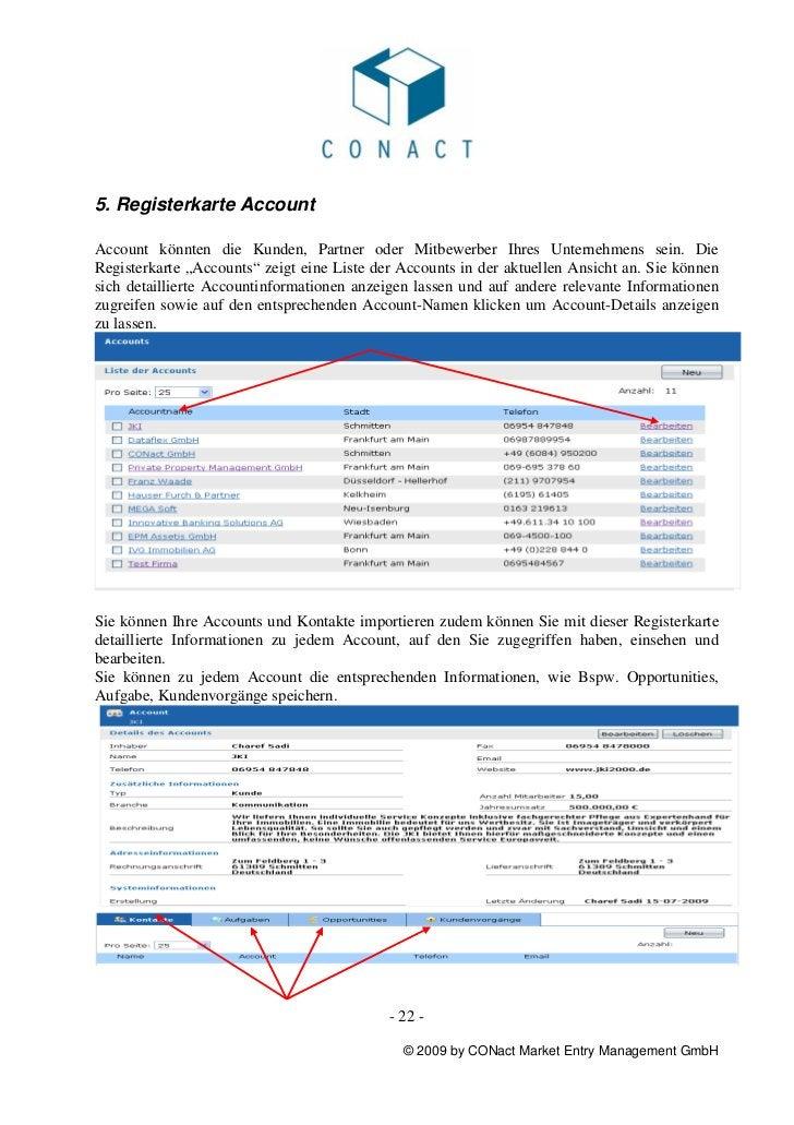 """5. Registerkarte AccountAccount könnten die Kunden, Partner oder Mitbewerber Ihres Unternehmens sein. DieRegisterkarte """"Ac..."""