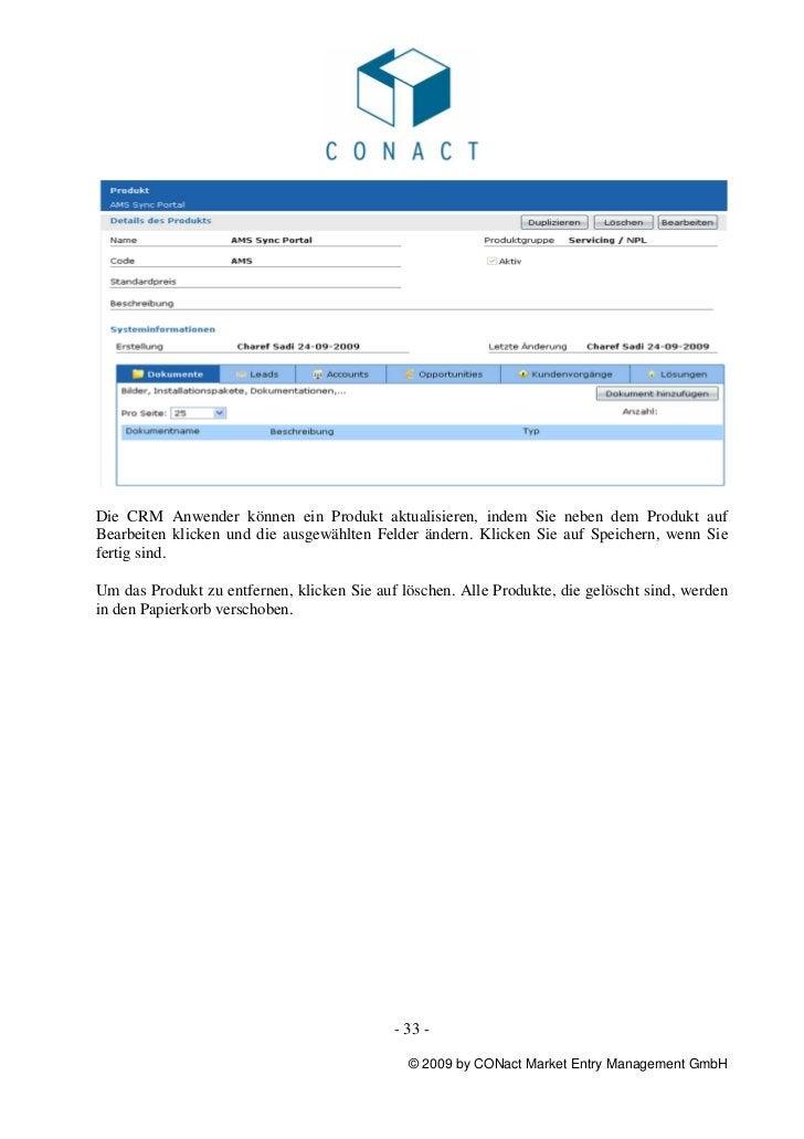 Die CRM Anwender können ein Produkt aktualisieren, indem Sie neben dem Produkt aufBearbeiten klicken und die ausgewählten ...