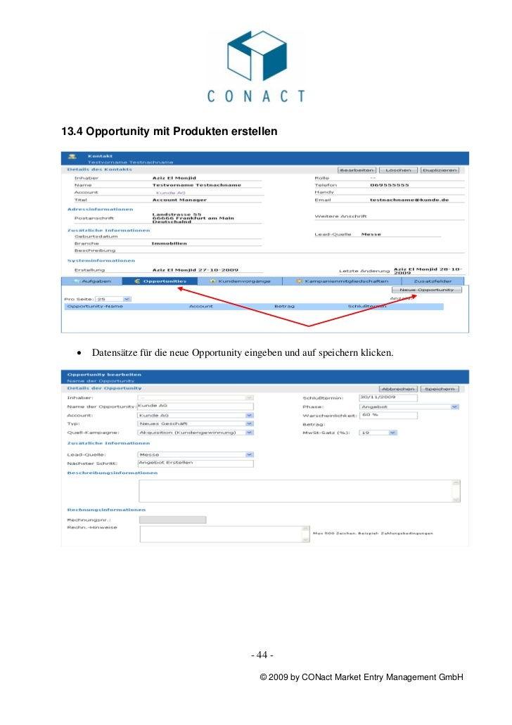 13.4 Opportunity mit Produkten erstellen  •   Datensätze für die neue Opportunity eingeben und auf speichern klicken.     ...