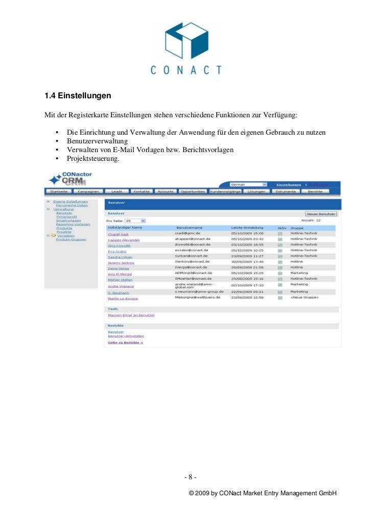 1.4 EinstellungenMit der Registerkarte Einstellungen stehen verschiedene Funktionen zur Verfügung:   •   Die Einrichtung u...