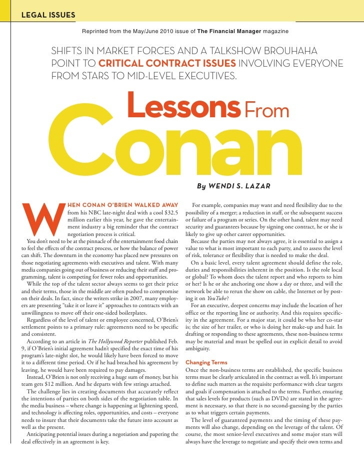 LEGAL ISSUES                             Reprinted from the May/June 2010 issue of The Financial Manager magazine         ...