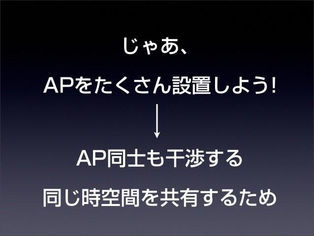 じゃあ、  APをたくさん設置しよう!  AP同士も干渉する  同じ時空間を共有するため  14年10月30日木曜日