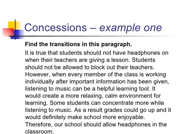 persuasive essay counter argument transitions