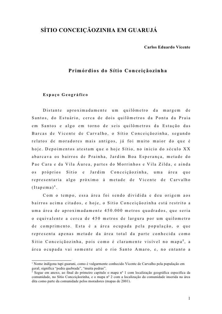 SÍTIO CONCEIÇÃOZINHA EM GUARUJÁ                                                                        Carlos Eduardo Vice...