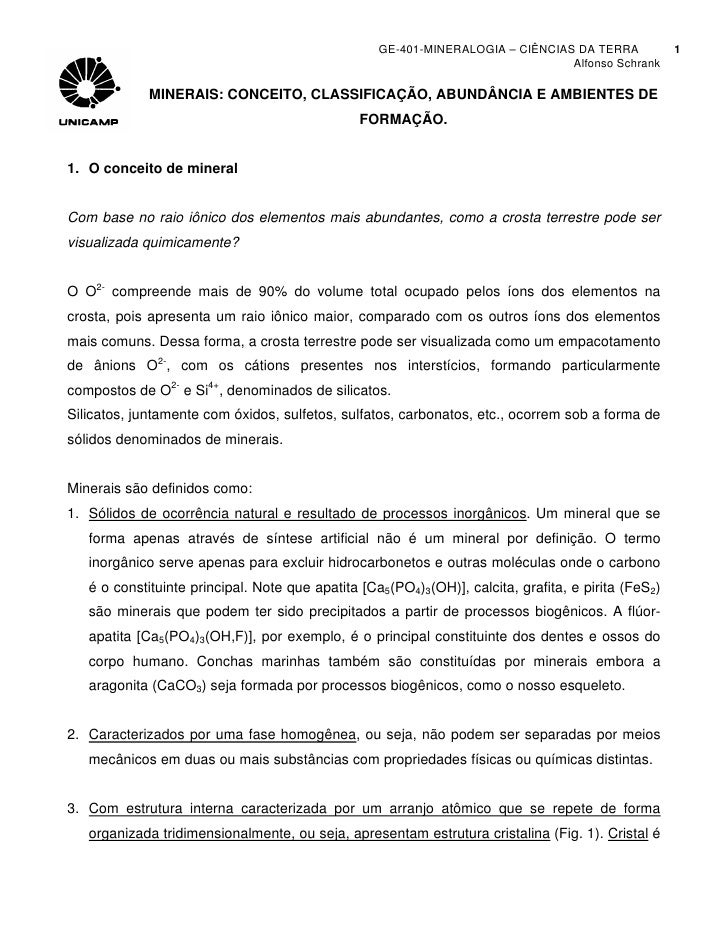 GE-401-MINERALOGIA – CIÊNCIAS DA TERRA            1                                                                       ...