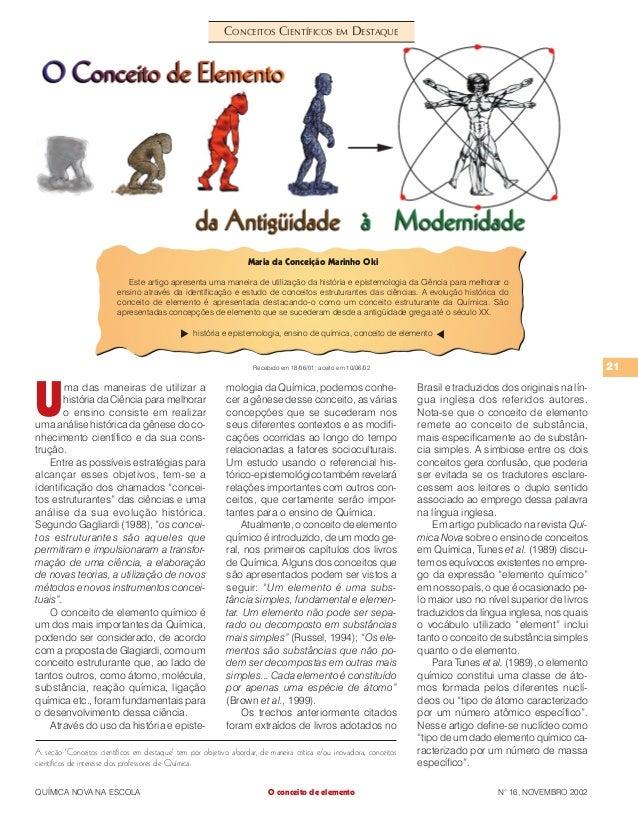 21 QUÍMICA NOVA NA ESCOLA N° 16, NOVEMBRO 2002 A seção 'Conceitos científicos em destaque' tem por objetivo abordar, de ma...