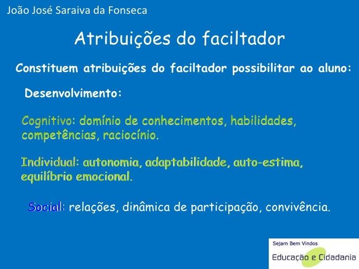 Desenvolvimento: Constituem atribuições do faciltador possibilitar ao aluno: Cognitivo: domínio de conhecimentos, habilida...