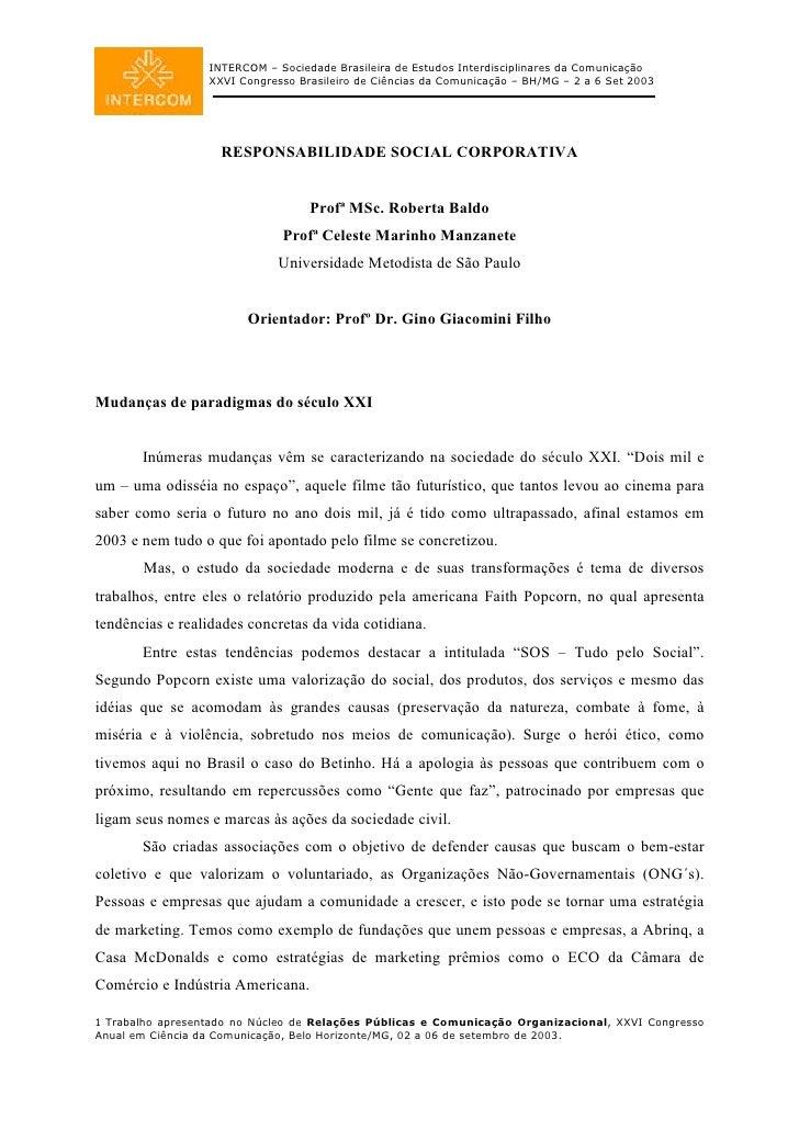 INTERCOM – Sociedade Brasileira de Estudos Interdisciplinares da Comunicação                   XXVI Congresso Brasileiro d...