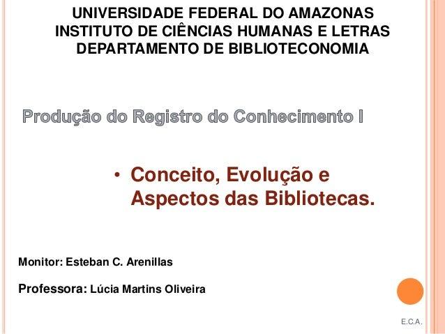 UNIVERSIDADE FEDERAL DO AMAZONAS      INSTITUTO DE CIÊNCIAS HUMANAS E LETRAS         DEPARTAMENTO DE BIBLIOTECONOMIA      ...