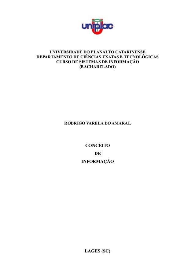 UNIVERSIDADE DO PLANALTO CATARINENSE DEPARTAMENTO DE CIÊNCIAS EXATAS E TECNOLÓGICAS CURSO DE SISTEMAS DE INFORMAÇÃO (BACHA...