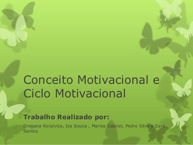 Conceito Motivacional eCiclo MotivacionalTrabalho Realizado por:Dragana Korpivica, Isa Sousa , Marisa Gabriel, Pedro Silva...
