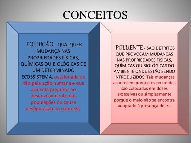 CONCEITOS  POLUIÇÃO - QUALQUER  MUDANÇA NAS  PROPRIEDADES FÍSICAS,  QUÍMICAS OU BIOLÓGICAS DE  UM DETERMINADO  ECOSSISTEMA...
