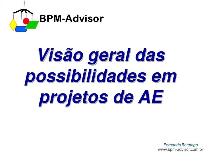 BPM-Advisor    Visão geral das possibilidades em  projetos de AE                   Fernando Botafogo                www.id...