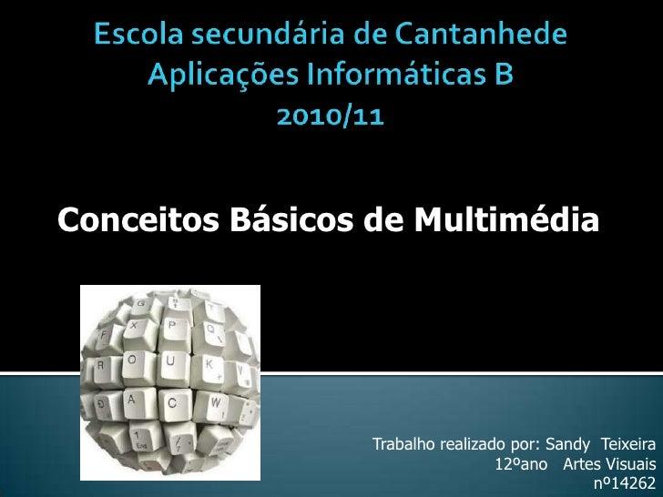 Escola secundária de CantanhedeAplicações Informáticas B 2010/11<br />Conceitos Básicos de Multimédia<br />Trabalho realiz...