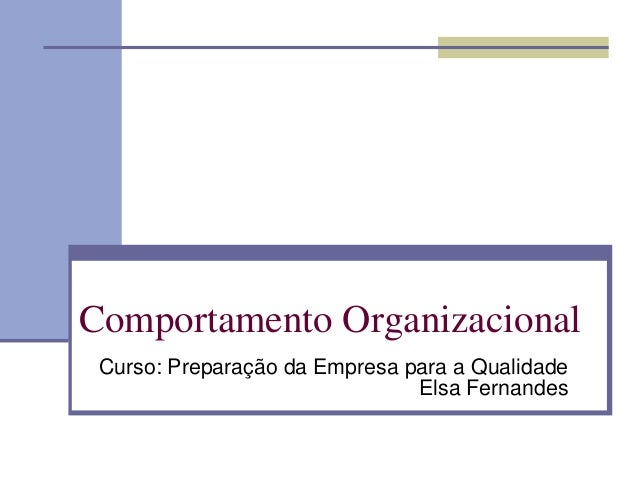 Comportamento Organizacional Curso: Preparação da Empresa para a Qualidade Elsa Fernandes
