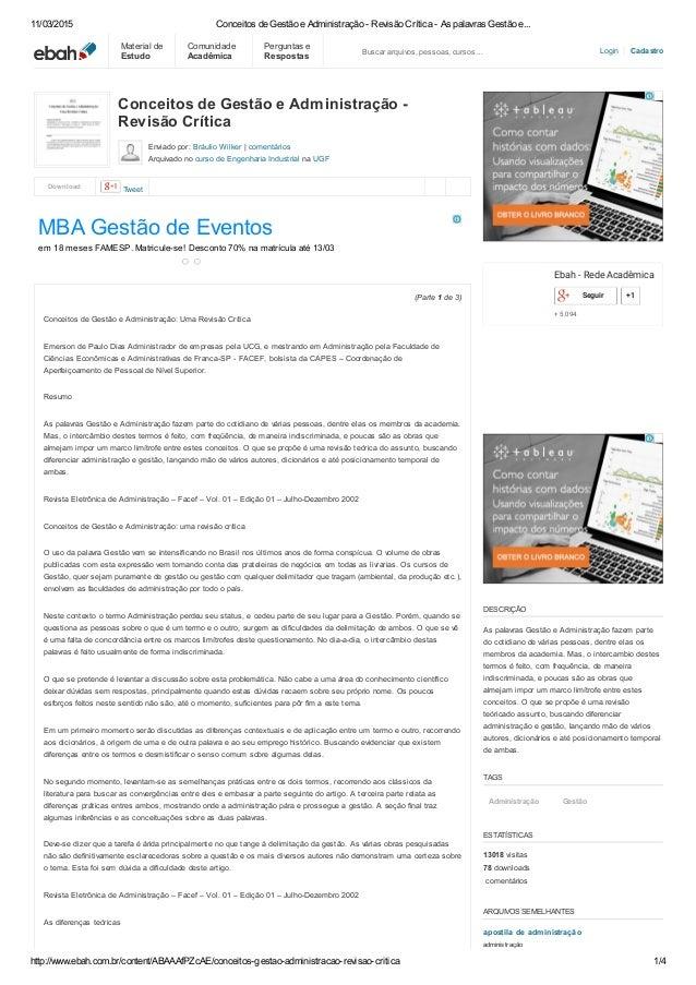 11/03/2015 ConceitosdeGestãoeAdministraçãoRevisãoCríticaAspalavrasGestãoe... http://www.ebah.com.br/content/...