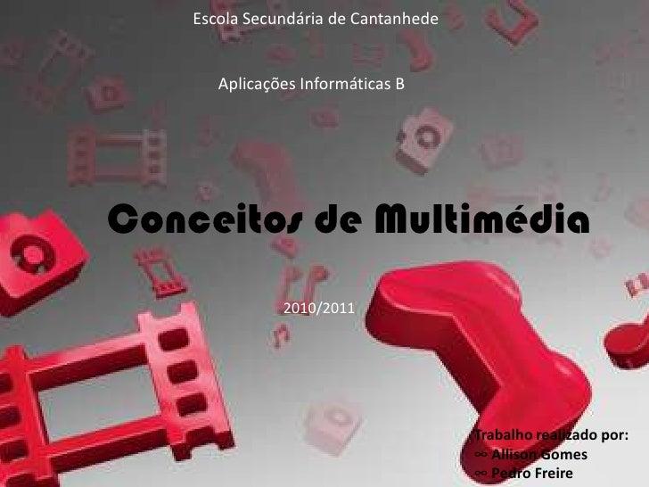 Escola Secundária de Cantanhede       Aplicações Informáticas BConceitos de Multimédia               2010/2011            ...