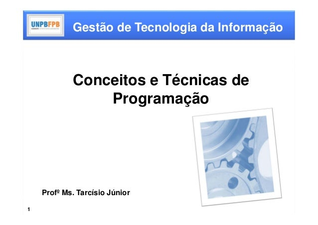 Gestão de Tecnologia da Informação            Conceitos e Técnicas de                Programação    Profº Ms. Tarcísio Jún...