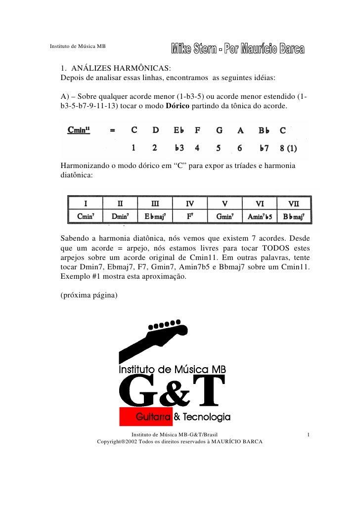 Instituto de Música MB       1. ANÁLIZES HARMÔNICAS:     Depois de analisar essas linhas, encontramos as seguintes idéias:...